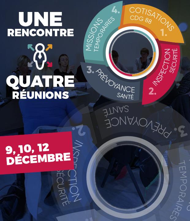 Invitation aux prochaines réunions d'informations du CDG 88 les 9, 10 et 12 décembre